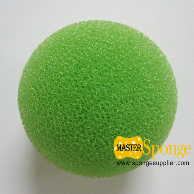 Reticulated open-cell soft sponge ball