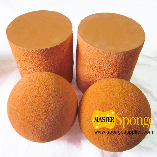 Orange Sponge Silicone Rubber Ball and Cylinder for Concrete Pipeline Cleaning